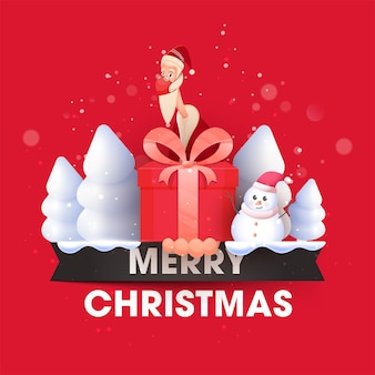 Illustratie die van de kerstman veiligheidsmasker met geschenkdoos draagt