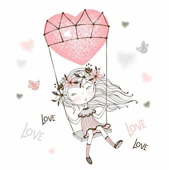 Illustratie die van leuk meisje op een ballon in de vorm van een hart vliegt.