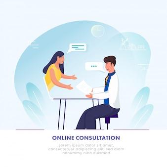 Illustratie die van vrouw online overleg hebben aan arts in laptop op blauwe en witte achtergrond.