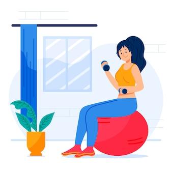 Illustratie die van vrouw sport doet