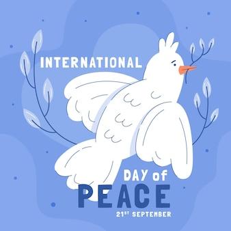 Illustratie die van witte duif vrede symboliseert