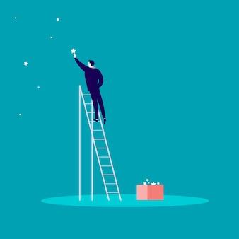 Illustratie die van zakenman zich op treden bevindt en ster aan de hemel bereikt