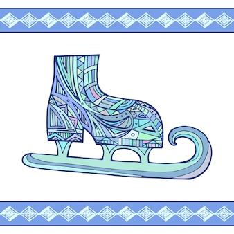 Illustratie doodle winter schaatsen met boho patroon voor je cre