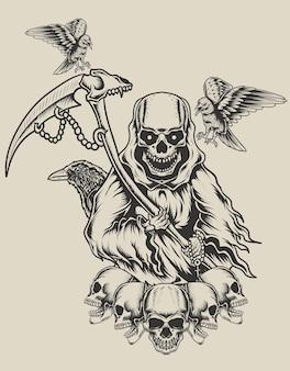 Illustratie doodsengel met kraaivogel