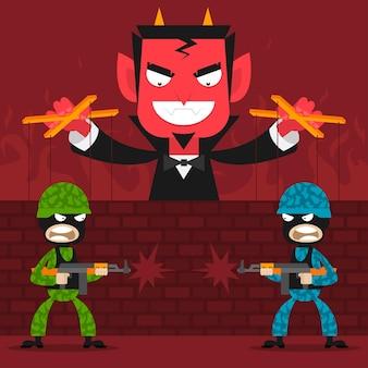 Illustratie duivel bestuurt soldaten marionetten, formaat eps 10