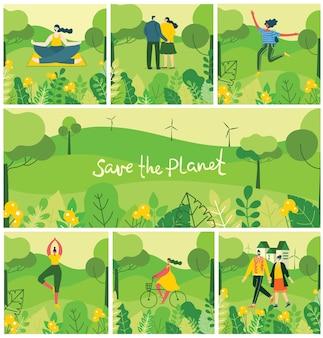 Illustratie eco-achtergronden van concept van groene eco-energie en citaat save the planet.