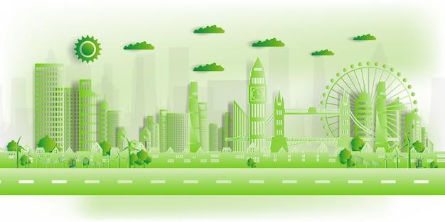 Illustratie. eco-vriendelijke, groene stad redt de wereld,