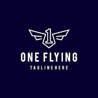 Illustratie eenvoudige moderne lijn kunst nummer één vliegen met vleugels engel logo ontwerp sjabloon art