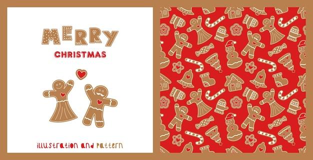 Illustratie en naadloos patroon met gemberkoekjes. cijfers van het deeg. sneeuwman, peperkoekmannetje, peperkoekhuisje, snoep, sneeuwvlok, steek, sok, bel.