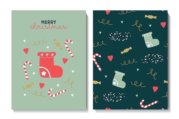 Illustratie en naadloos patroon met kerstsokken, sterren en sneeuwvlokken