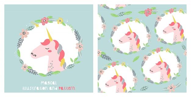 Illustratie en naadloos patroon met leuke eenhoorn