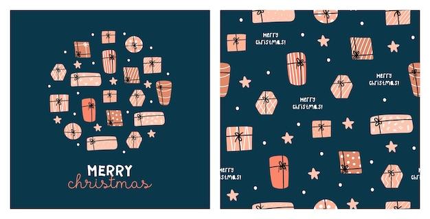 Illustratie en naadloos patroon met leuke kerstcadeaus. 2021
