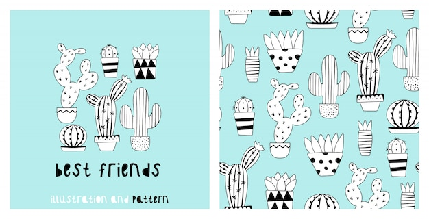 Illustratie en naadloos patroon met schattige cactus