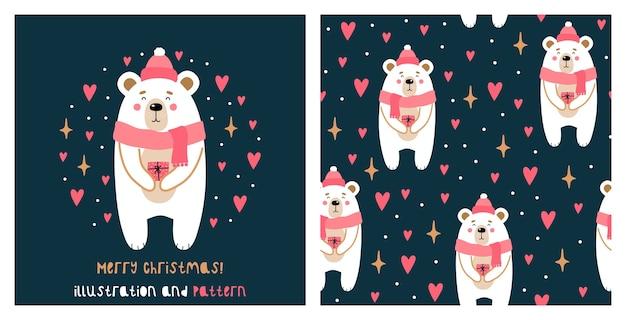 Illustratie en naadloos patroon met schattige kerstbeer.