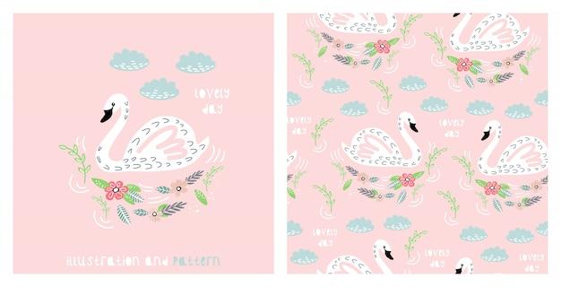 Illustratie en naadloos patroon met schattige zwaan