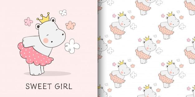 Illustratie en patroon van schattige nijlpaard