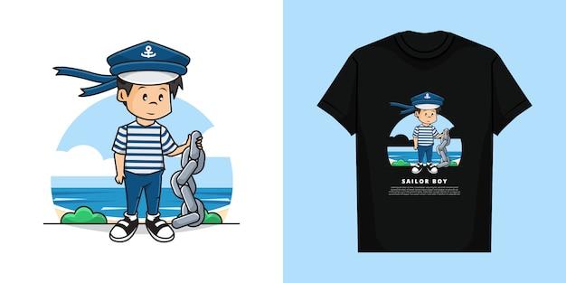 Illustratie en t-shirt sjabloonontwerp van schattig sailor boy-karakter dat de ketting vasthoudt.