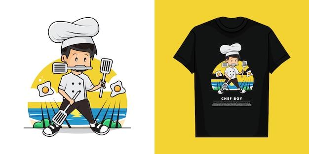 Illustratie en t-shirt sjabloonontwerp van schattige chef-kokjongen doet de gebakken eieren kookactie met behulp van drie spatels