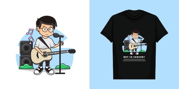 Illustratie en t-shirt sjabloonontwerp van schattige jongen die zingt terwijl hij gitaar speelt.