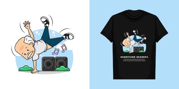 Illustratie en t-shirt van schattige opa doet hand staan met de muziek