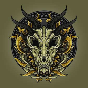 Illustratie en t-shirtontwerp draak schedel gravure ornament