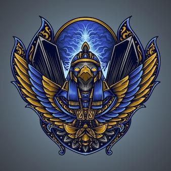 Illustratie en t-shirtontwerp horus gravure ornament