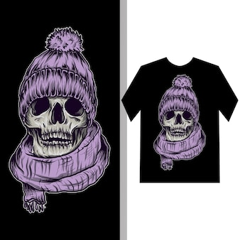 Illustratie en t-shirtontwerp schedel met wintermuts en sjaal
