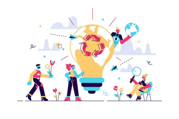 Illustratie. energie besparen, de planeet redden, dag van de aarde, wereldmilieudag, biotechnologie, groene planeet, ecologie, recycle lampen,