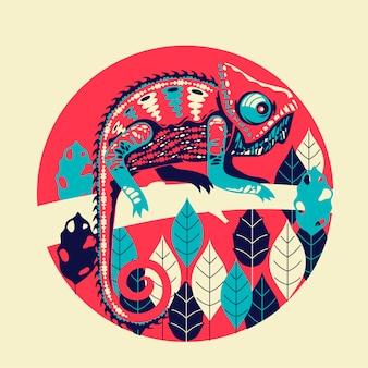 Illustratie exotische kameleon huid veelkleurig.