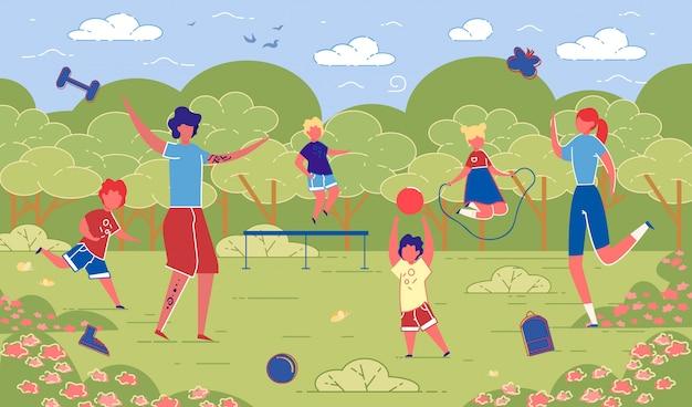 Illustratie familie sportieve activiteiten in de natuur.