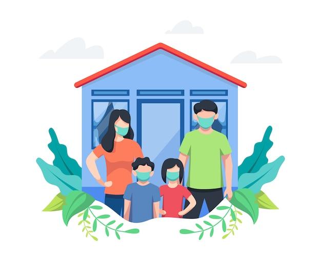 Illustratie familie thuis blijven