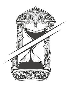 Illustratie gebroken zandloper zwart-wit stijl