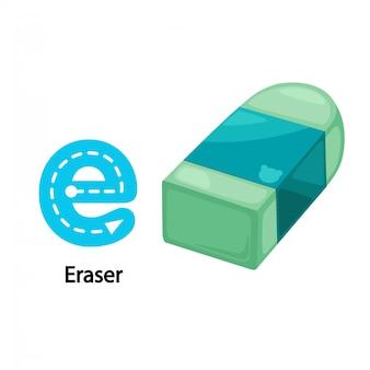 Illustratie geïsoleerd alfabet letter e-eraser