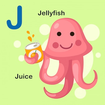 Illustratie geïsoleerd dier alfabet letter j-jellyfish, sap