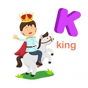 Illustratie geïsoleerde alfabet letter k king