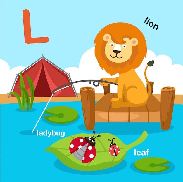 Illustratie geïsoleerde alfabet letter l.