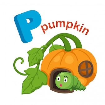 Illustratie geïsoleerde alfabet letter p pumpkin