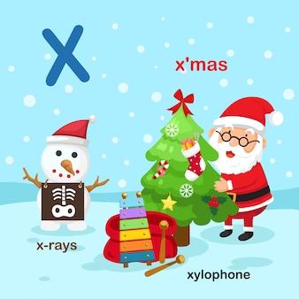 Illustratie geïsoleerde alfabet letter x