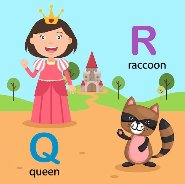 Illustratie geïsoleerde alfabetbrief q-queen, r-wasbeer