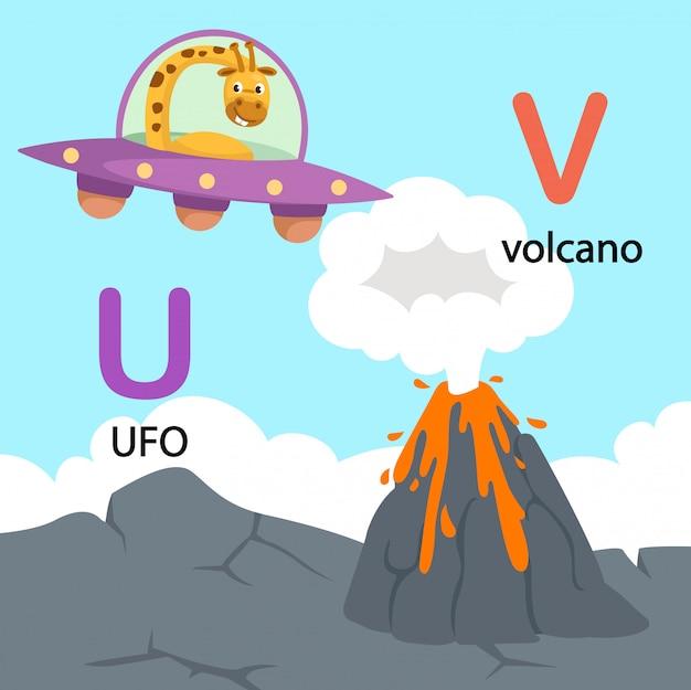 Illustratie geïsoleerde alfabetbrief u-ufo, v-vulkaan