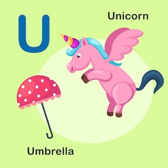 Illustratie geïsoleerde dierlijke alfabetbrief u-eenhoorn, paraplu