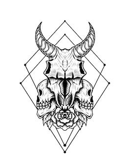 Illustratie geit schedel bloem