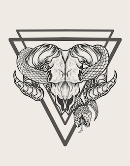Illustratie geit schedel met slang zwart-wit stijl