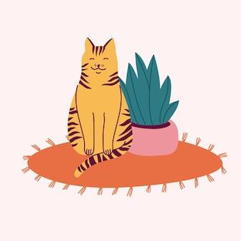 Illustratie gelukkig gestreepte kat, zittend op het tapijt in de buurt van een bloempot.