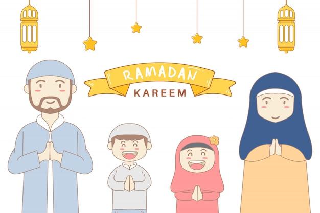 Illustratie gelukkige ramadan familiekarakters premium