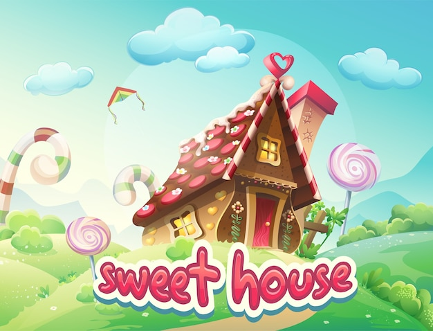 Illustratie gingerbread house met de woorden sweet house
