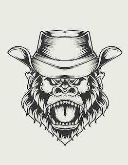 Illustratie gorilla hoofd met cowboy hoed