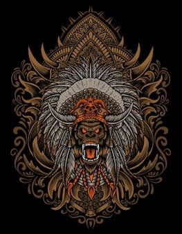 Illustratie gorilla hoofd met gravure ornament stijl