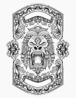 Illustratie gorilla hoofd met gravure ornament
