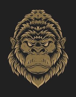 Illustratie gorilla hoofd op zwarte achtergrond